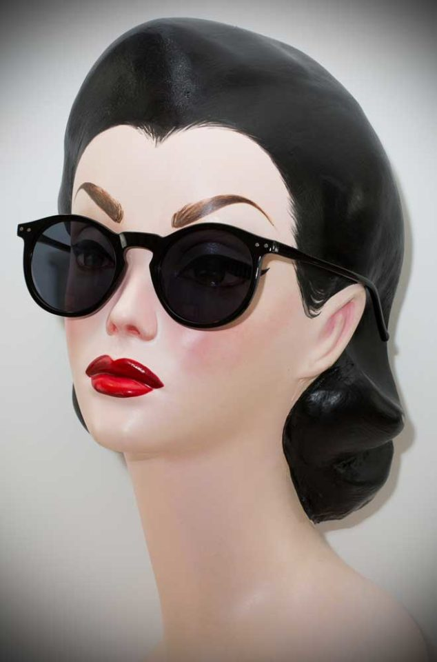 Vintage style Black Deco Sunglasses at Deadly is the Female. The perfect way to add some vintage glamour to your pinup look.