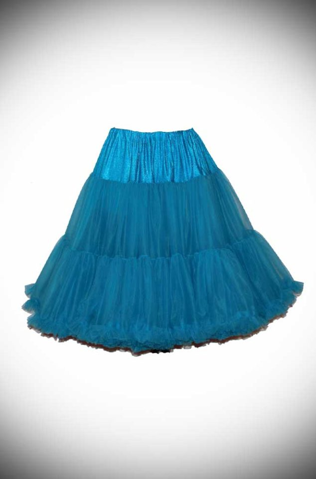 Vintage Style Peacock Chiffon Petticoat, also sometimes called a crinoline. These are soft and comfortable under your favourite swing dress or circle skirt.