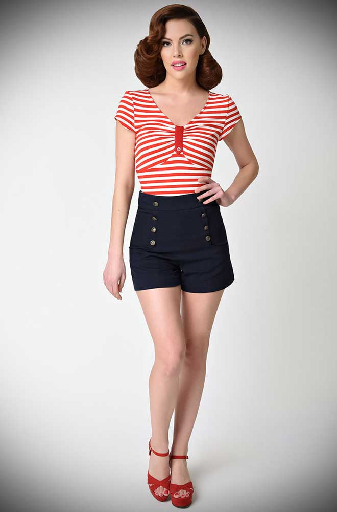 High Waisted Sailor Shorts in Navy! Summer pinup essential!