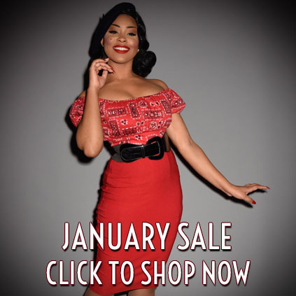 Deadly is the Female January Sale - discount pinup girl clothing, trashy diva, stop staring, vixen by Micheline Pitt, Ruby Shoo, Miss Candyfloss and more