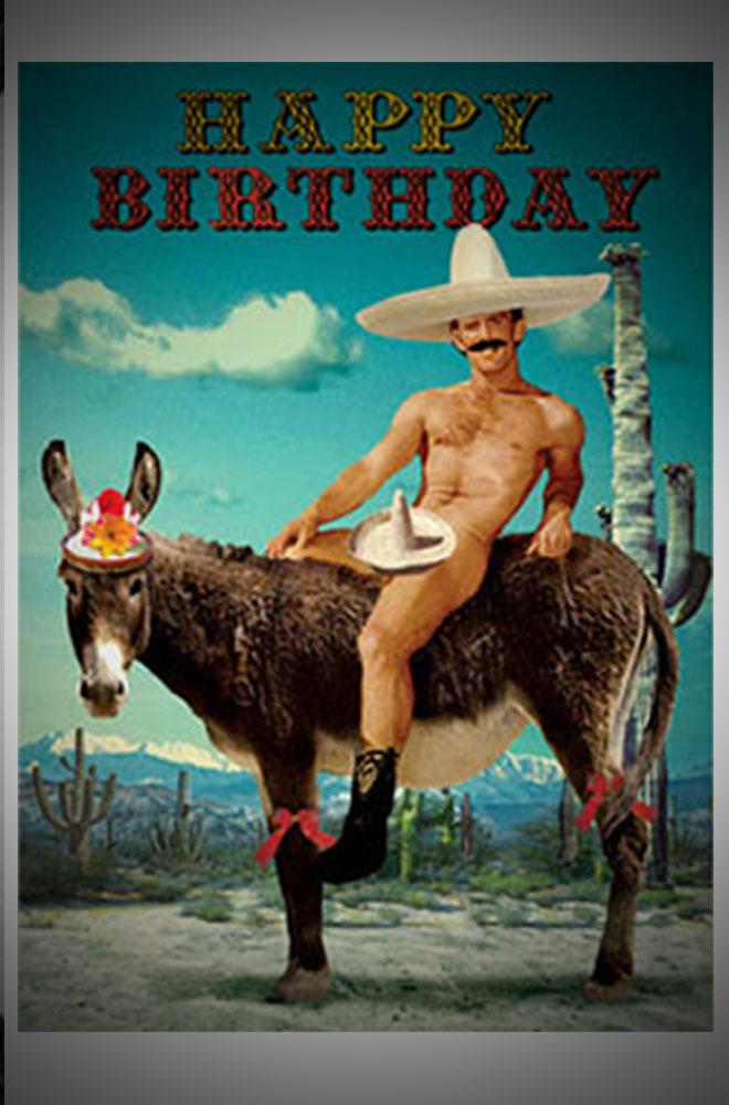 Funny naked guy birthday card girl sells virginity