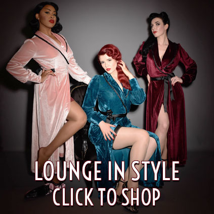 vintage style boudoir robes and loungewear at Deadly is the Female
