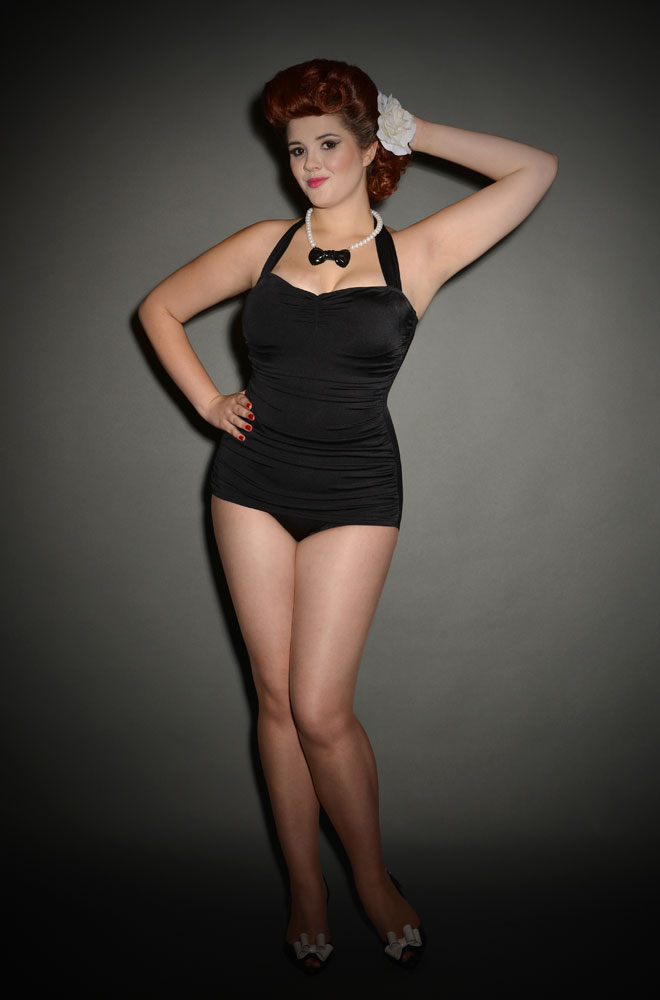 Classic Black Esther Williams swimsuit at UK Stockists Deadly is the Female. We just love this Pinup style swimsuit.