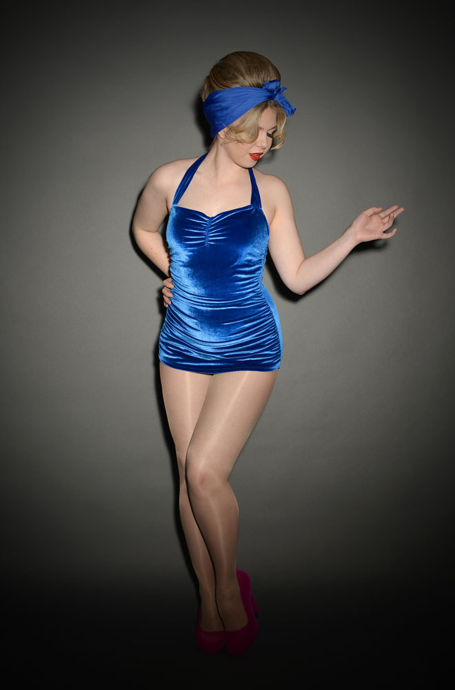 Pinup blue velvet swimsuit by Esther Williams at UK Stockists Deadly is the Female. We just love this Pinup style swimsuit.