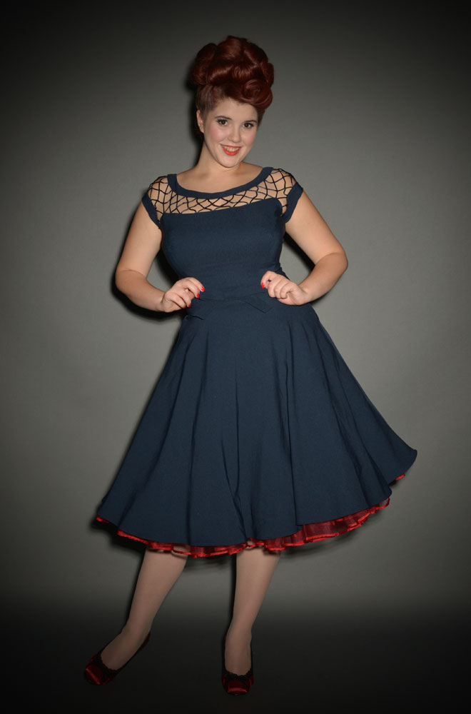 Alika 50 S Style Navy Blue Swing Dress At Deadly Is The