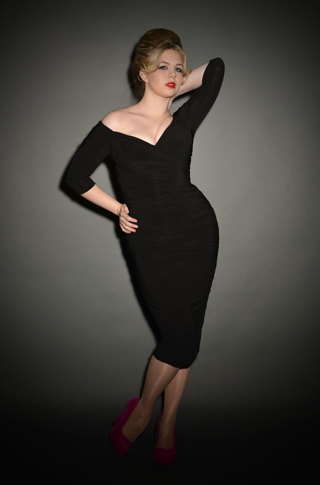 Black Monica Dress, the ultimate black 50's wiggle dress by Laura Byrnes for Pinup Girl Clothing at Deadly is the Female
