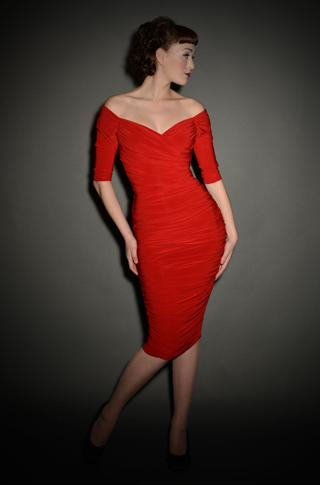 Red Monica Dress - the ultimate 1950's Wiggle Dress by Laura Byrnes