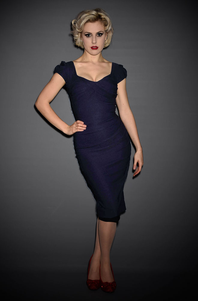 Stop Staring Navy Billion Dollar Baby Dress - the perfect dress to help you stand out from the crowd! This wiggle dress is an attention grabber!