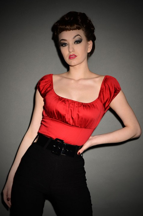 A wardrobe essential - introducing the Pinup Red Peasant Top by Pinup Couture at official UK stockists, Deadly is the Female. Sassy & smart!