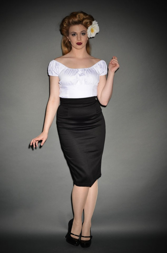 Pin Up Vintage Pencil Skirt in Black
