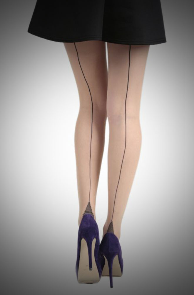 Jive Seamed Tights in Champagne/Black £8.00