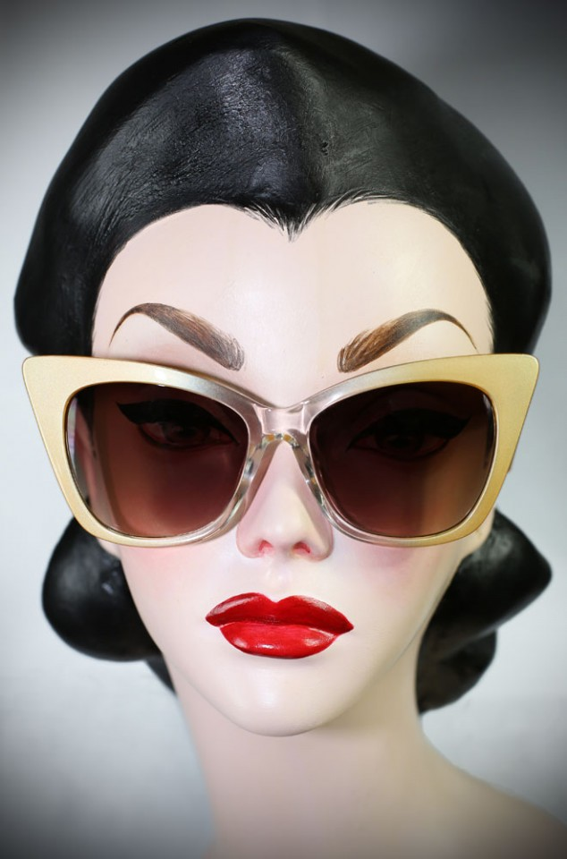 Vintage style Cream 70s Cat Eye sunglasses at Deadly is the Female. Effortlessly add some pinup glamour to your day!