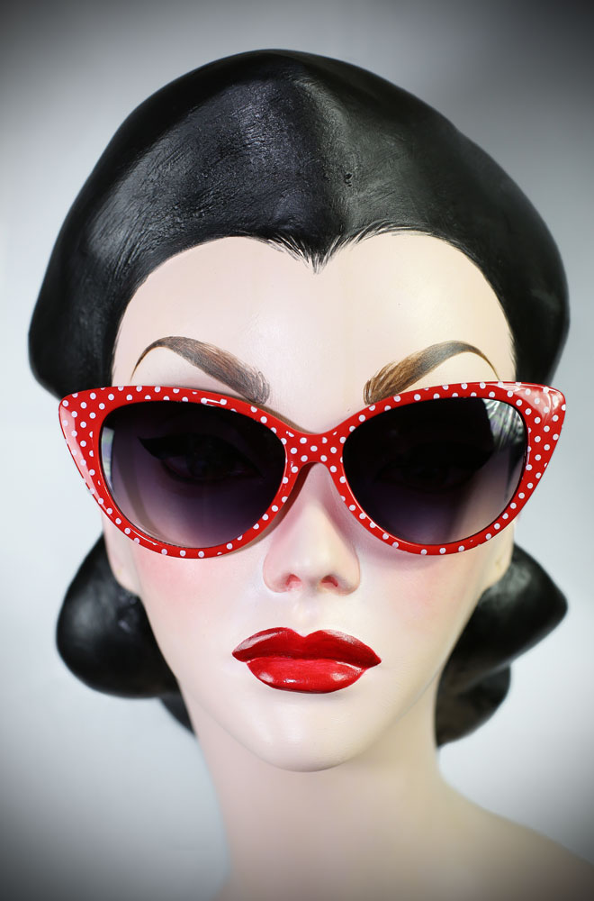 The Kitty sunglasses are red polka dot 50's cats eye sunglasses at Deadly is the Female. Effortlessly add some pinup glamour to your day!