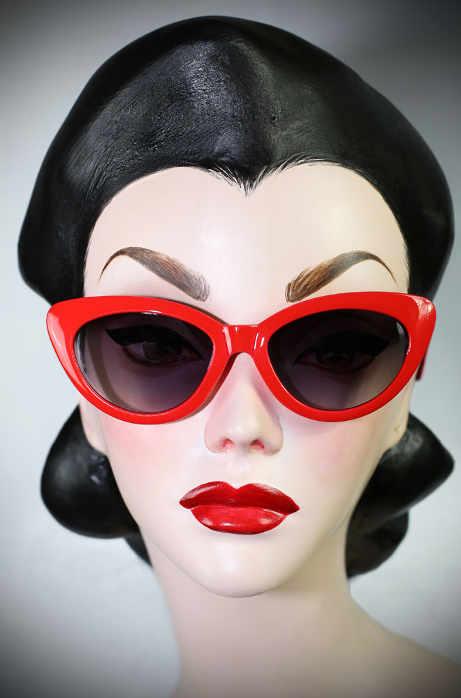 22644b15d1 50 s style Red Dollie Cat Eye Sunglasses at Deadly is the Female. The  perfect way