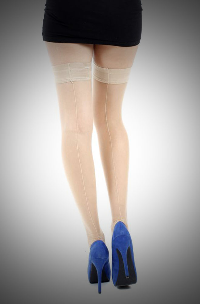 Seamed Hold Ups in Champagne  £9.00