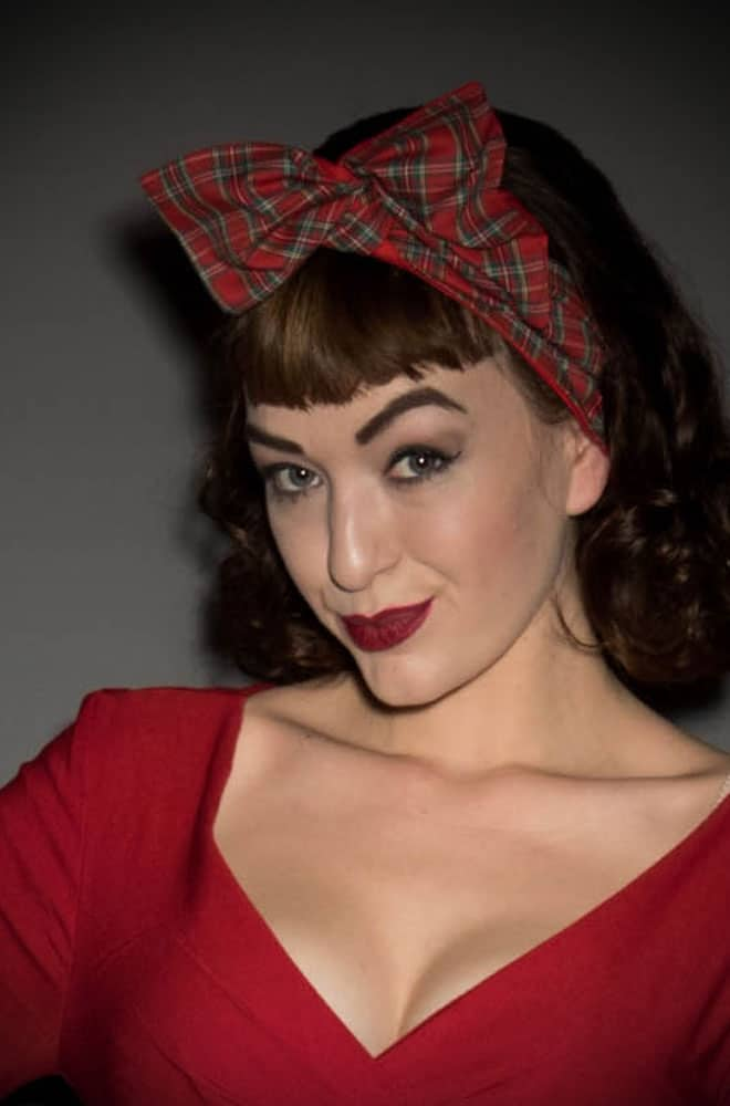 Paloma Wired Headband in Red Tartan print for rockabilly pinup hair styles