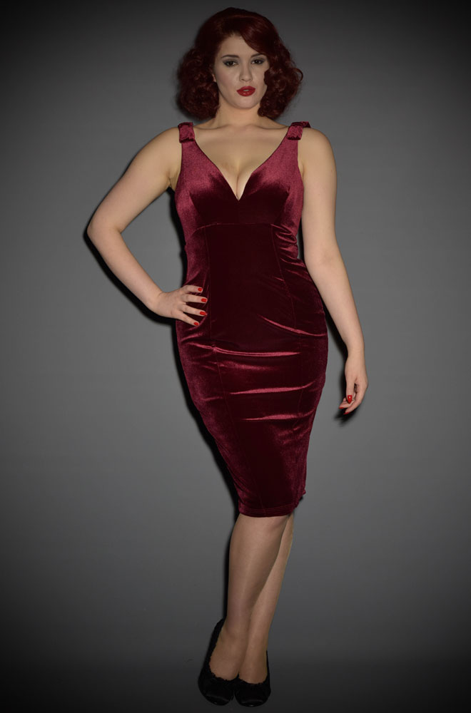Wine Velvet Gilda Dress by Laura Byrnes at UK stockists Deadly is the Female