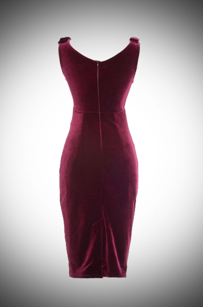 Vintage Style Wine Velvet Gilda Dress at Deadly is the Female