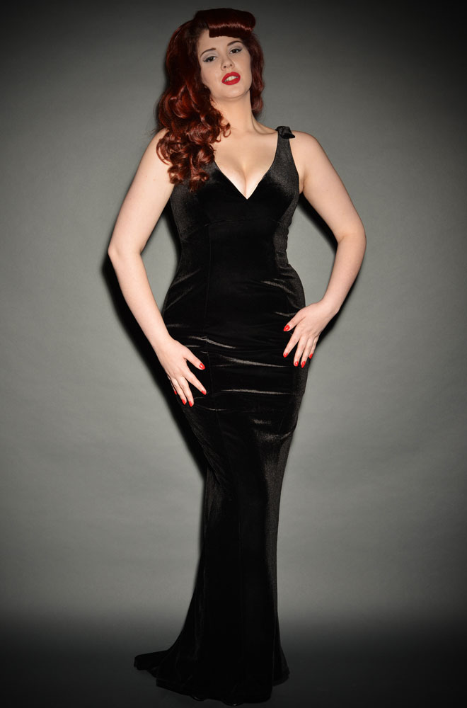 Vintage Style Black Gilda Gown in Velvet by Laura Byrnes for Pinup Girl Clothing at UK Stockists Deadly is the Female