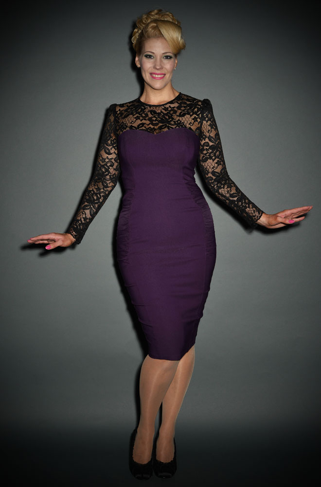 Delia - Pinup Girl vintage style purple wiggle dress at Deadly is the Female
