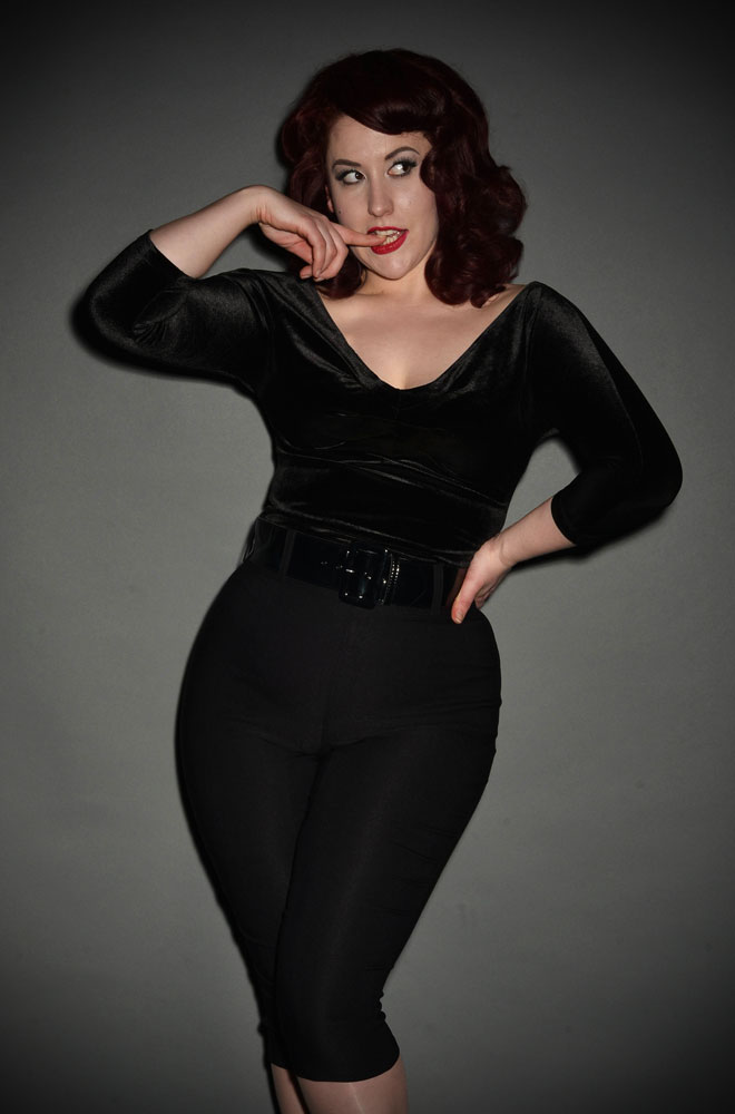 Spanish black velvet Lolita top by Pinup Couture - Deadly is the Female