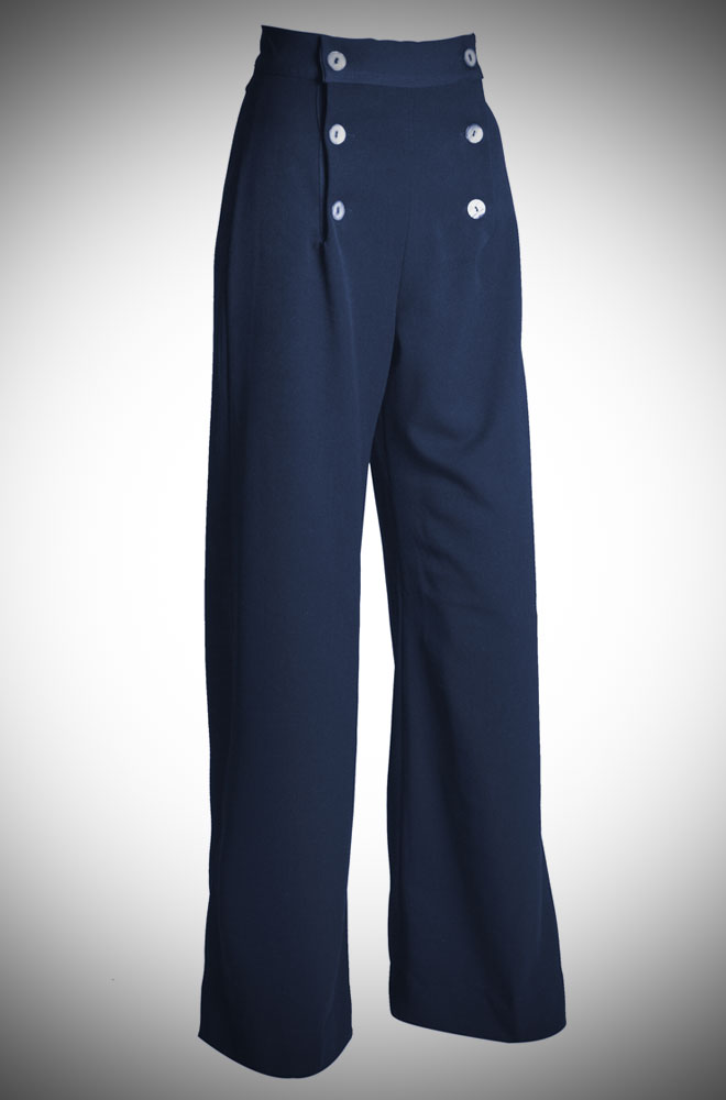 Vintage 30s style navy wide leg sailor trousers at Deadly is the Female