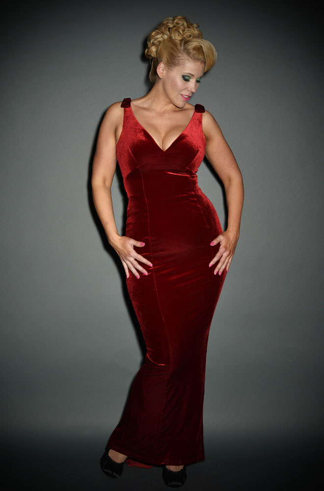 Vintage Style Burgundy Velvet Gilda Gown at Deadly is the Female