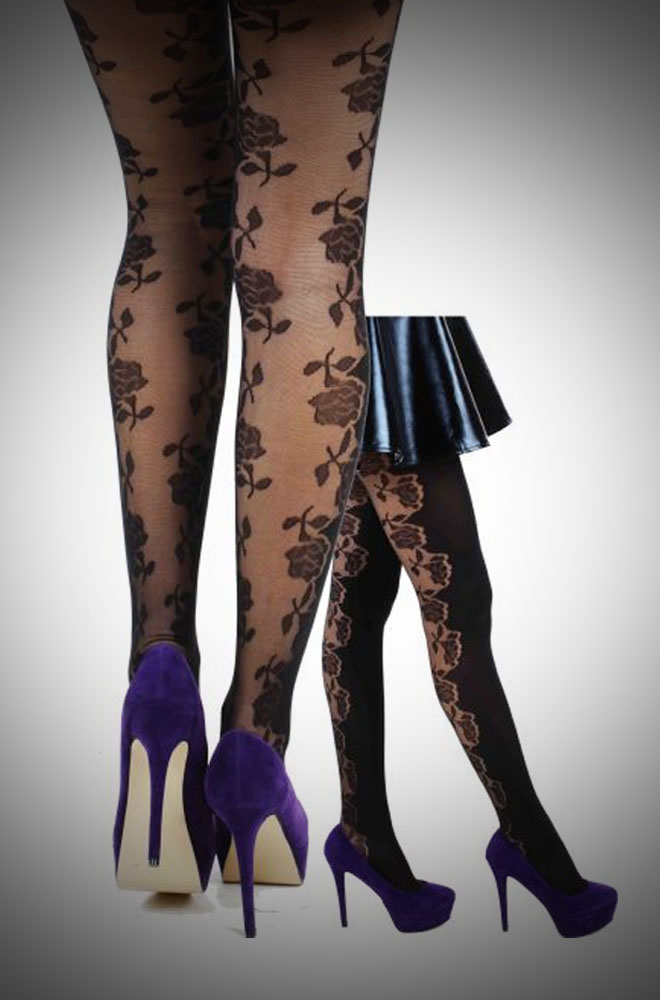 Romantic vintage style rose tights for pin up girls