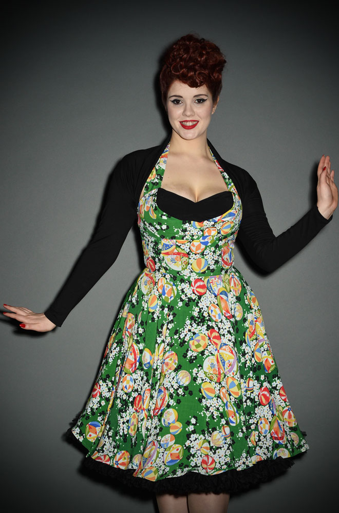 Black vintage style shrug with 50s style neckline at Deadly is the Female