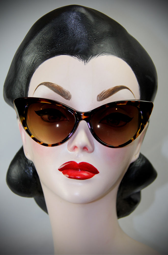 tortoiseshell 1950's style cats eye sunglasses at Deadly is the Female