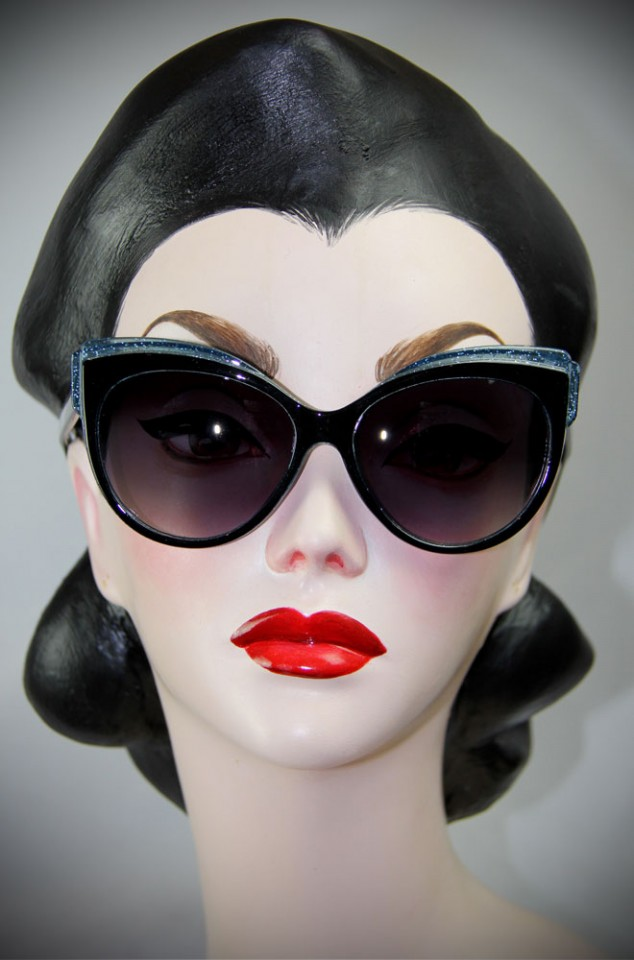 Black and Blue Thirties Cat Sunglasses at Deadly is the Female