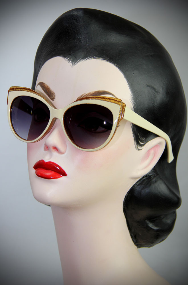 Vintage style Cream and Gold Thirties Cat Sunglasses at Deadly is the Female. The perfect way to add some vintage glamour and glitter to your pinup look.
