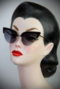 50s Style Thunderbird Black Cat Eye Sunglasses at Deadly is the Female