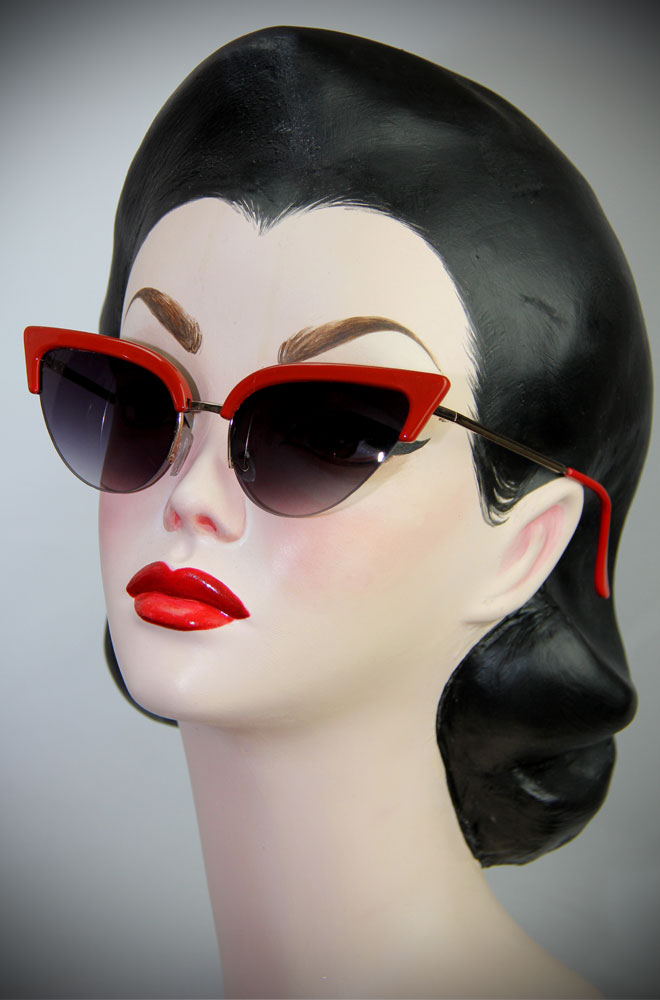 50s Style Thunderbird Red Cat Eye Sunglasses at Deadly is the Female