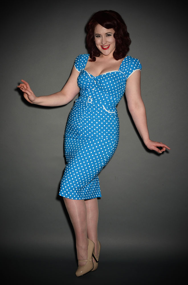 Vintage inspired Stop Staring Arabella Dress in blue & white polka dots at official UK stockists of Stop Staring, Deadly is the Female.