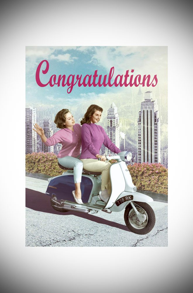 Max Hern Bikini greetings card - vintage inspired congratulations card