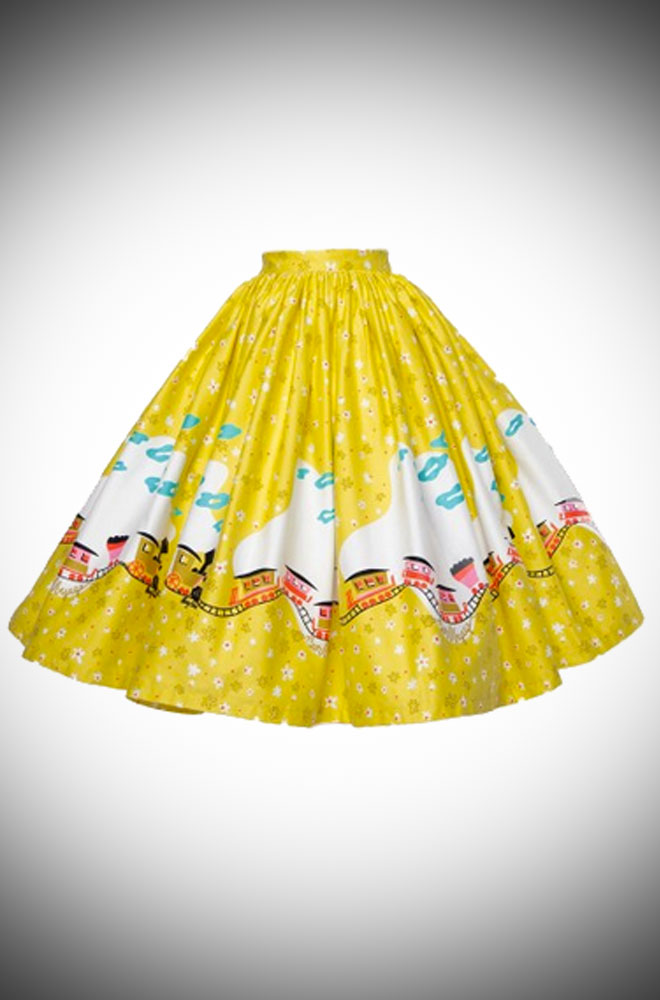 Pinup Girl Clothing Jenny Skirt in Mary Blair Train Boarder Print