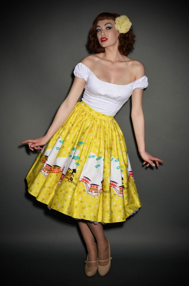 Deadly is the Female are official UK stockists of Pinup Girl Clothing. Introducing the Mary Blair Yellow Train Jenny Skirt - a fab 50's swing skirt.