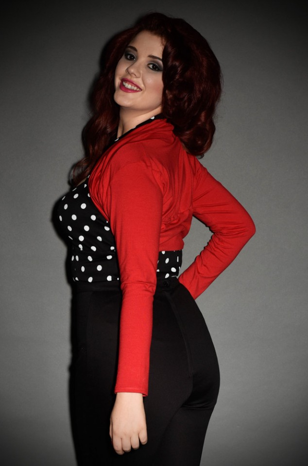 Vintage style red Shrug with 50s style neckline at Deadly is the Female