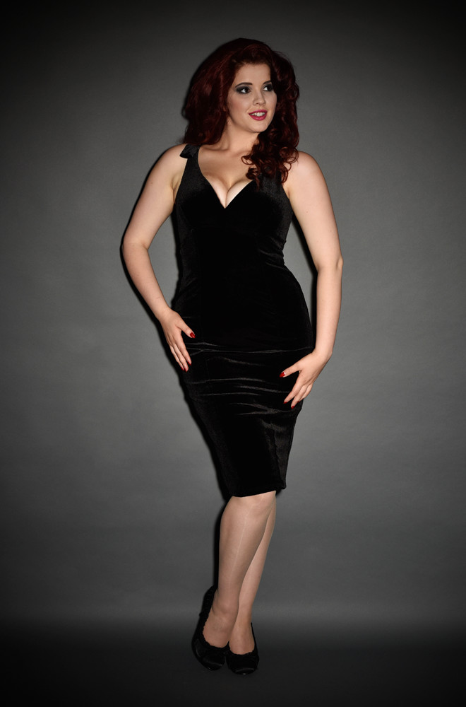 Laura Byrnes Black Velvet Gilda Dress. A vintage couture inspired LBD at official UK stockists of Pinup Girl Clothing House Brands, Deadly is the Female.