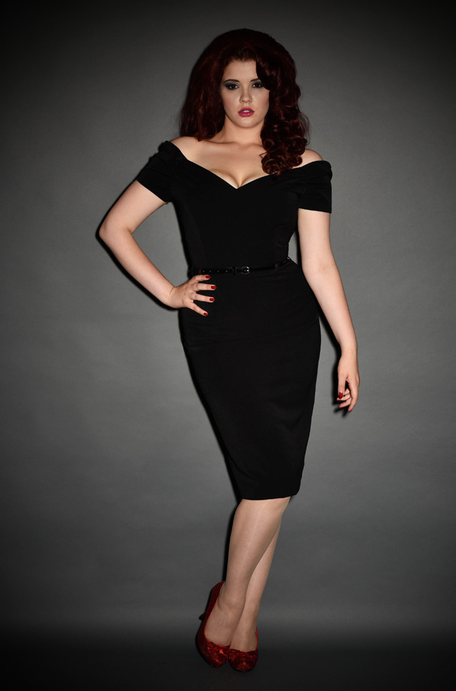 Black Fatale Dress, a 1950's style Bardot off the shoulder Fatale wiggle dress by the Pretty Dress Company