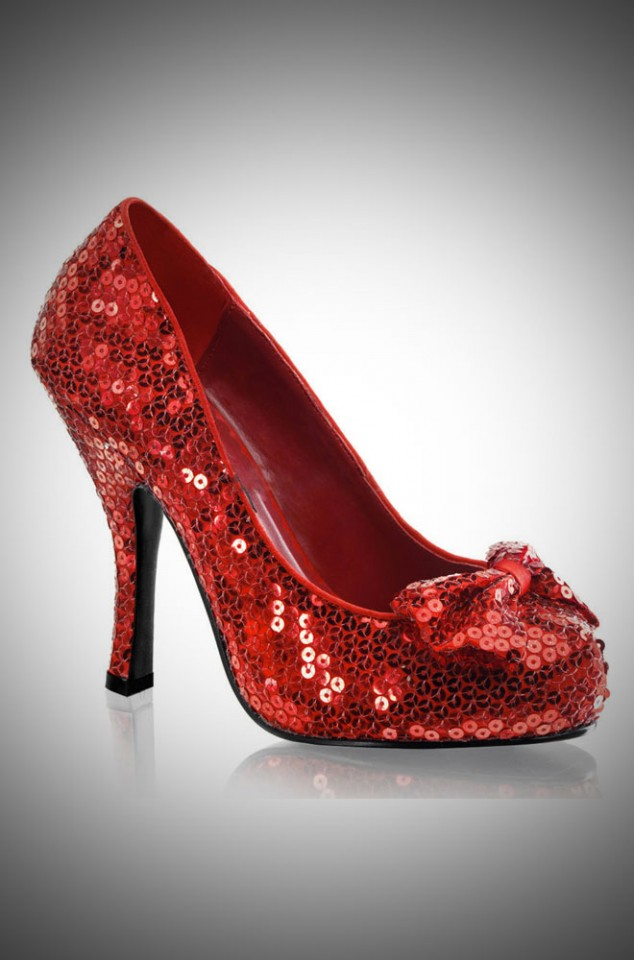 Pinup Dorothy Ruby Shoes in Red Sequins - vintage style shoes with a bow over the toe at Deadly is the Female
