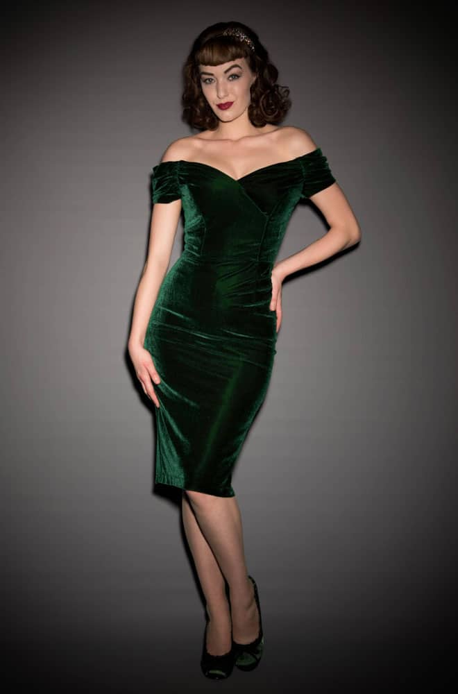Velvet Fatale Dress - a 1950's style forest green Bardot off the shoulder wiggle dress by the Pretty Dress Company