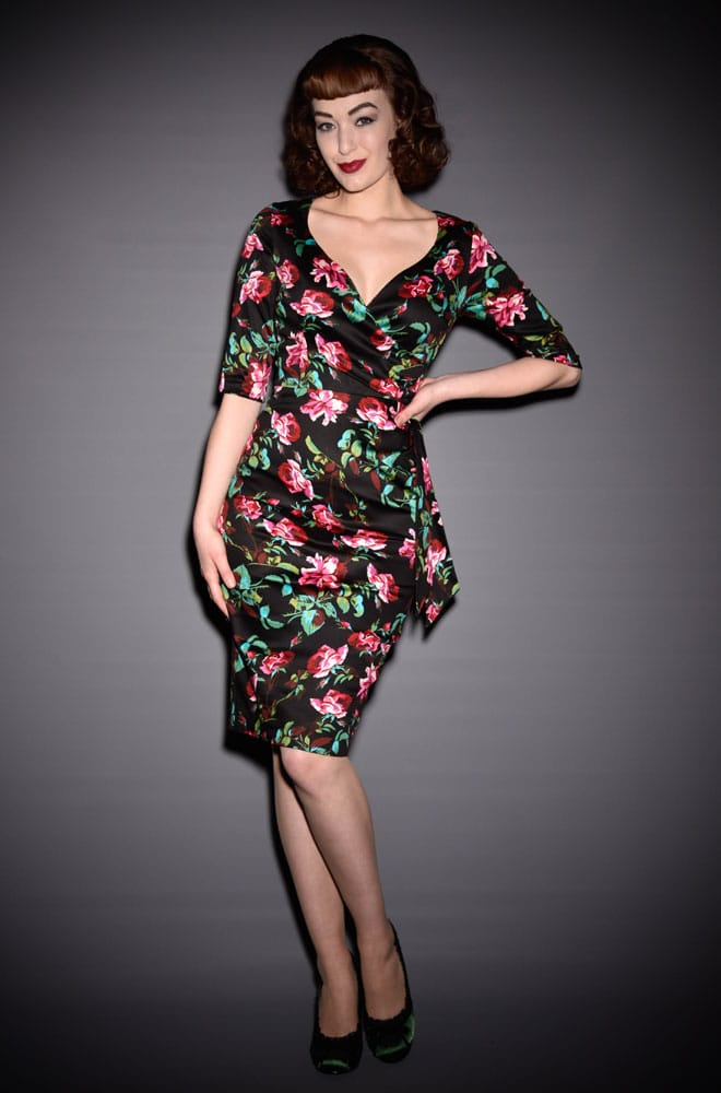 50's style Provence Rose Hourglass wiggle dress at Deadly is the Female