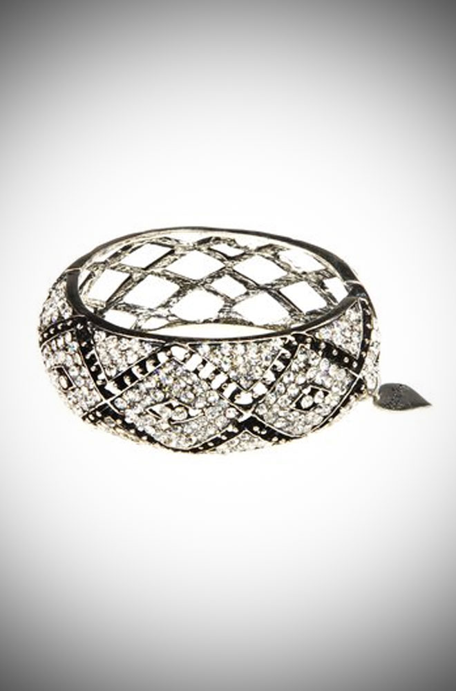 Art Deco vintage inspired silver crystal cuff.