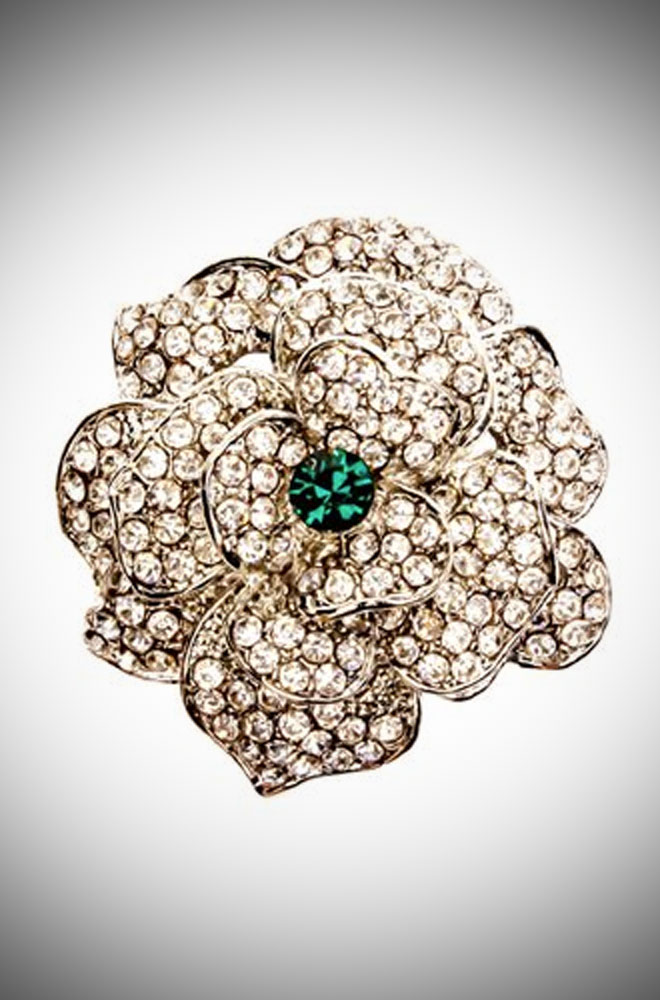 Crystal & emerald rose ring inspired by vintage costume jewellery