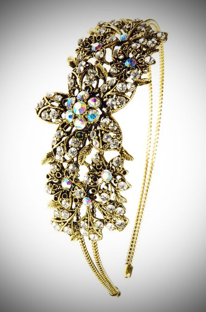 Vintage style Gold Crystal Flowers Hairband - the perfect way to add some effortless vintage glamour to your look.