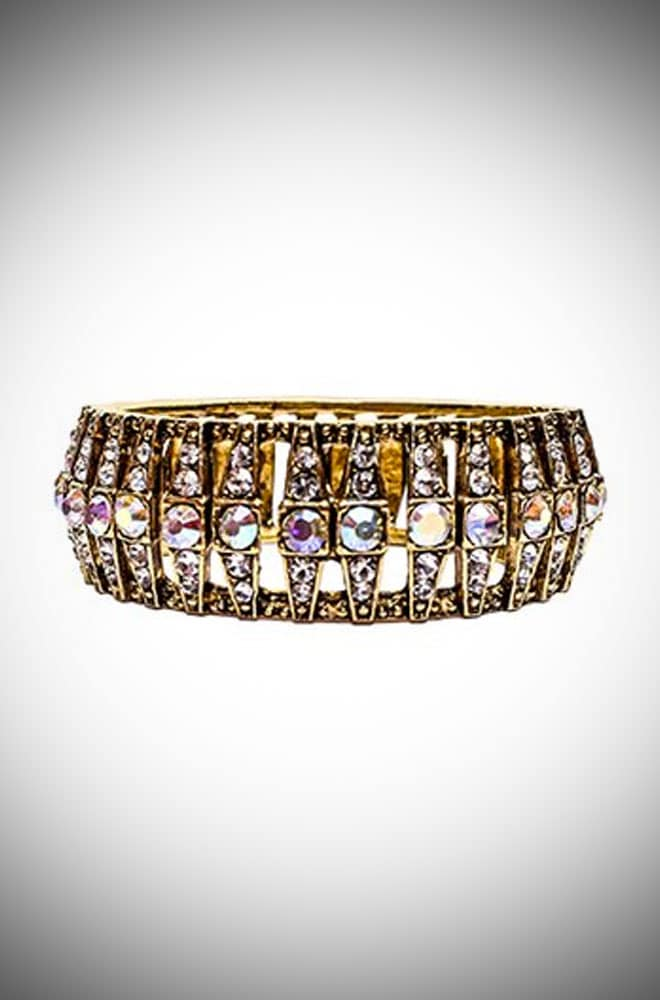 Vintage Gold Crystal Costume Jewellery Cuff