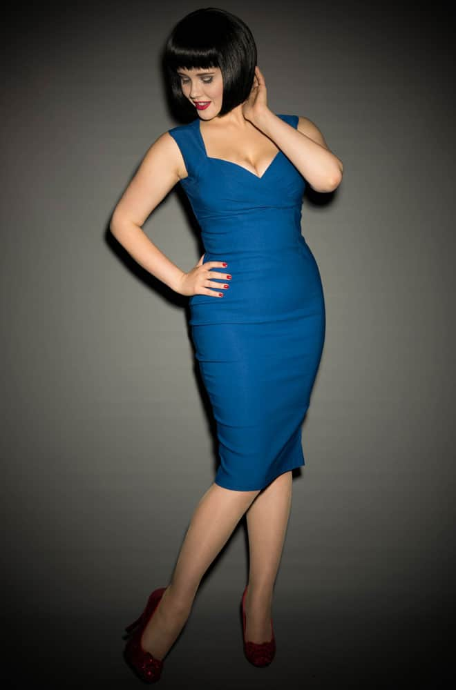 Pinup Couture Erin Wiggle Dress in Royal Blue at Deadly is the Female UK stockists of Pinup Girl Clothing