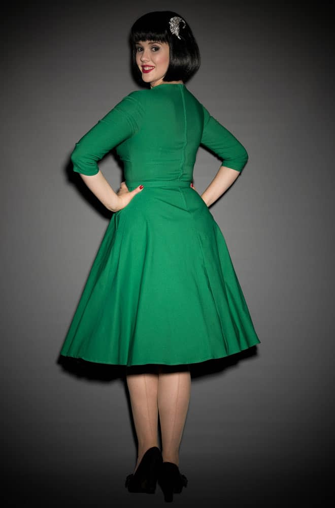 Pinup Girl Erin Swing Dress in Emerald Green at UK Stockists Deadly is the Female